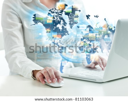 Girl suring on web with modern laptop - stock photo