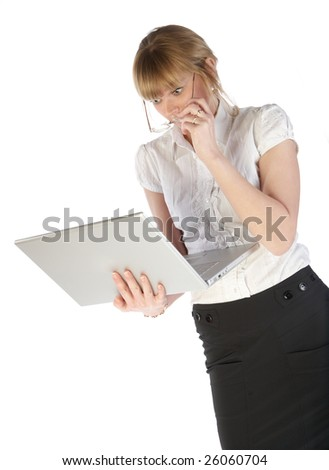 Girl surprising then looking on monitor of laptop