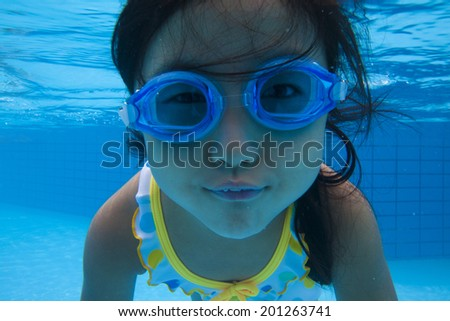 Girl swimsuit diving into water