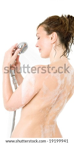 girl taking a shower - stock photo
