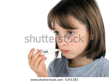 Girl taking her temperature with a thermometer