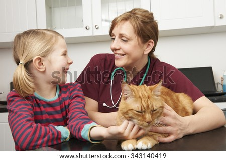 Girl Taking Pet Cat To Vet For Examination - stock photo