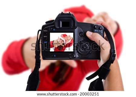 Girl taking photos to a young santa woman in christmas holidays. isolated on white. landscape orientation.