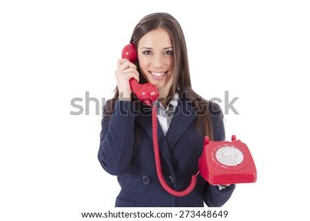 girl talking on the phone isolated cordon - stock photo