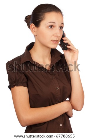 Girl talking on the phone. Portrait. Isolated on white background