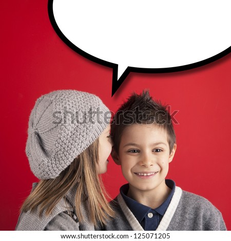 Girl talking to boy over red background with balloon. Valentines day concept. - stock photo