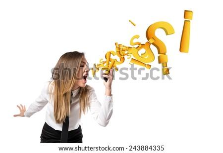 Girl talking to mobile - stock photo