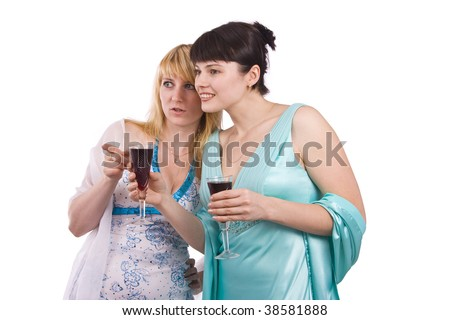 Girl telling a secret to another - gossip isolated over a white background. Woman friends series. Two happy women sharing funny gossip. - stock photo