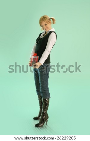 girl that wants to give the gift - stock photo