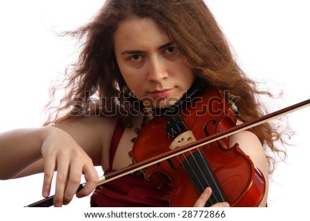 Girl the violinist, isolated on white background