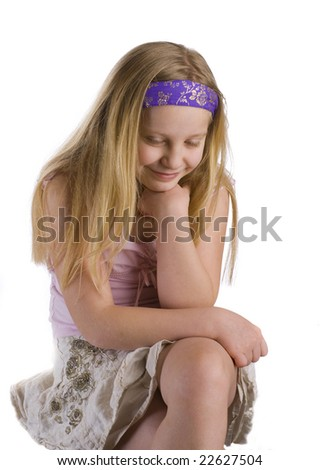 Girl thinking and  contemplating isolated on white background - stock photo