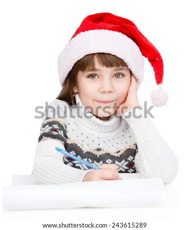 girl thinking what to write in a letter to Santa Claus. isolated on white background - stock photo