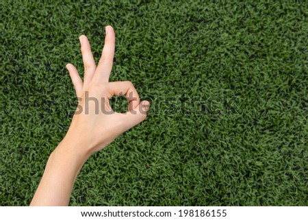 Girl Thumbs okey on background lawn.