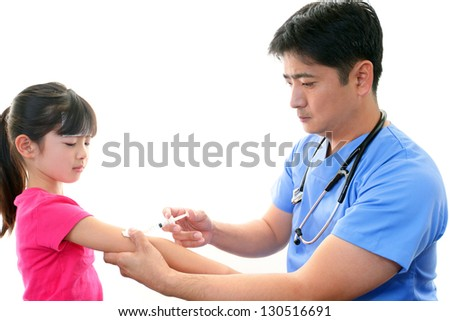 Girl to be vaccinated - stock photo