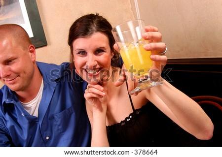Girl toasting - stock photo