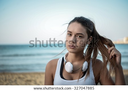 Girl touching her hair - Fitness Concept - stock photo
