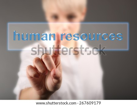 Girl touching human resources button - stock photo