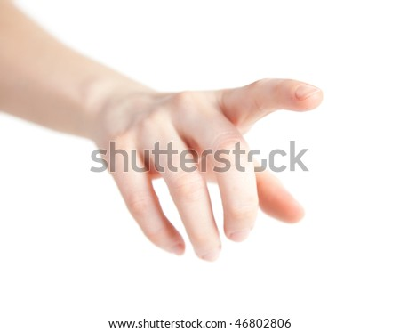 girl touching screen - stock photo