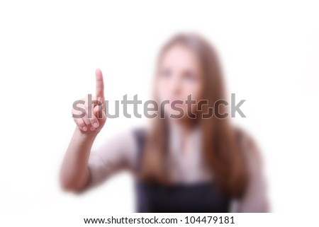 girl touching screen, pressing virtual button