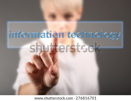 Girl touching sign information technology - stock photo