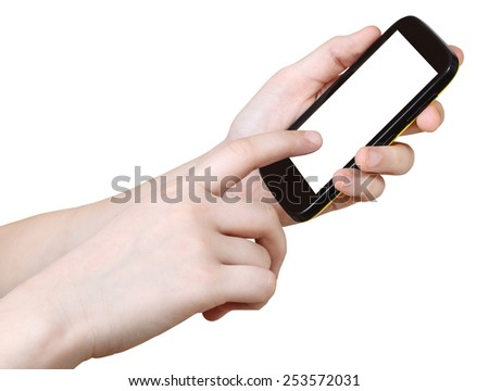 girl touching smartphone with cut out screen isolated on white background - stock photo