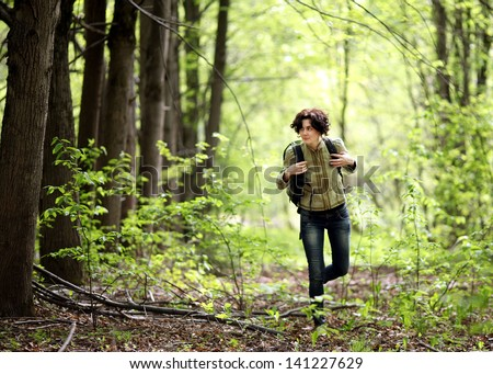 Girl tourist forest - stock photo