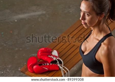 Girl training body combat - stock photo