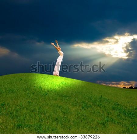 girl under heavenly light - stock photo
