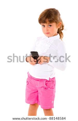 girl using mobile - stock photo