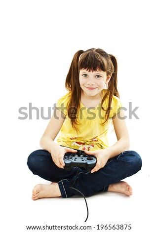 Girl using video game controller Isolated on white background - stock photo