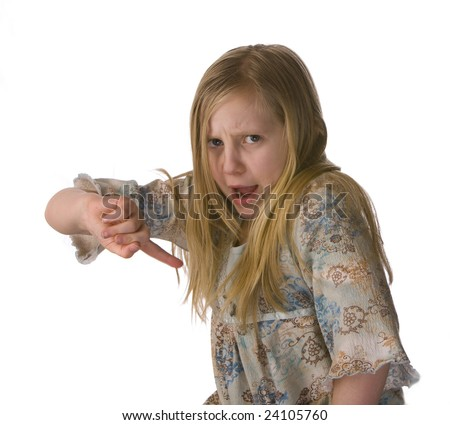 Girl wagging her finger and arguing - telling off - on a white background - stock photo