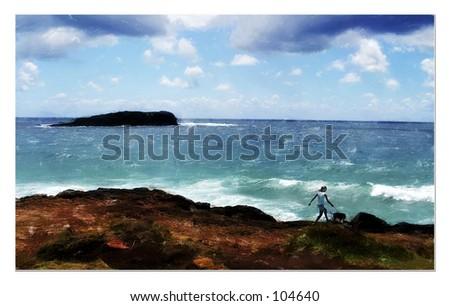 Girl walking a dog - stock photo