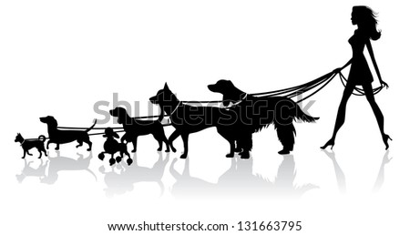 Girl Walking Dogs. JPG - stock photo