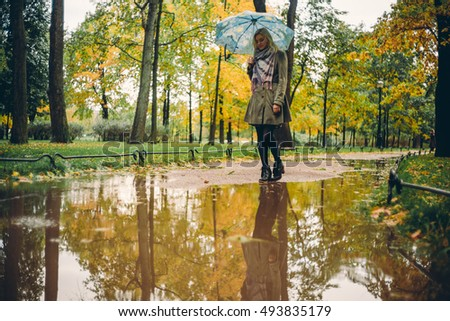 Girl walking in the rain in autumn park with an umbrella
