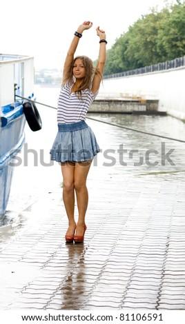 Girl walking outdoor - stock photo
