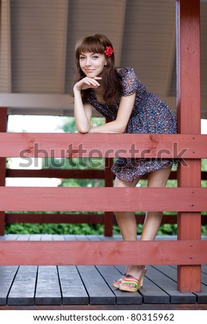 Girl walking outdoor in country side - stock photo
