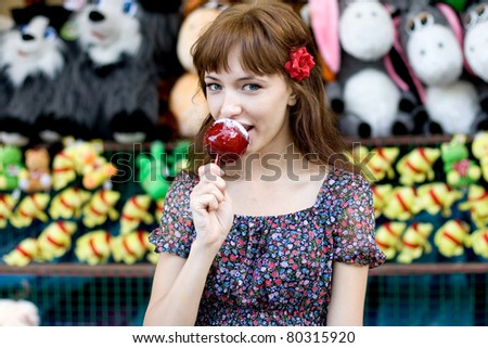 Girl walking outdoor in park - stock photo