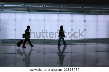 girl walking with reflex on the floor - stock photo