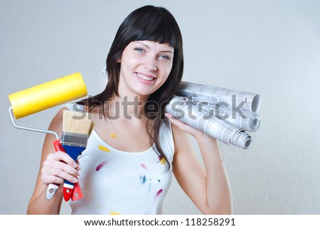 girl wallpaper glues, repair
