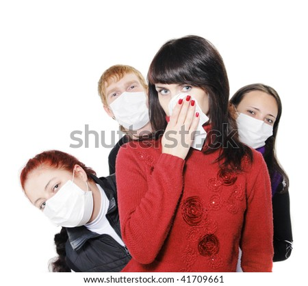 girl was ill of influenza, a man stands behind a mask, said by telephone, A(H1N1), on the  white background. Focus is on the girl