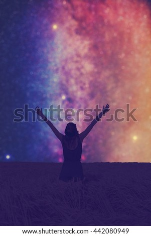 Girl watching the milky way. Stars and everything else are my work. No elements of NASA or other third party.