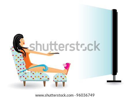 girl watching tv after work.