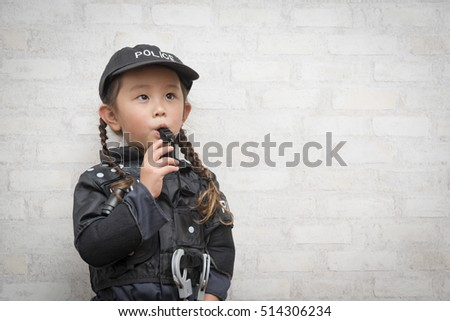 Girl wearing a police costume blowing the whistle  sc 1 st  Shutterstock & Girl Wearing Police Costume Blowing Whistle Stock Photo (Royalty ...