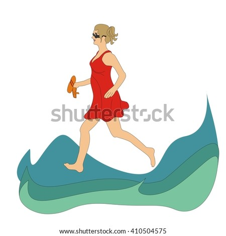 Girl wearing a red dress running on the waves of the sea