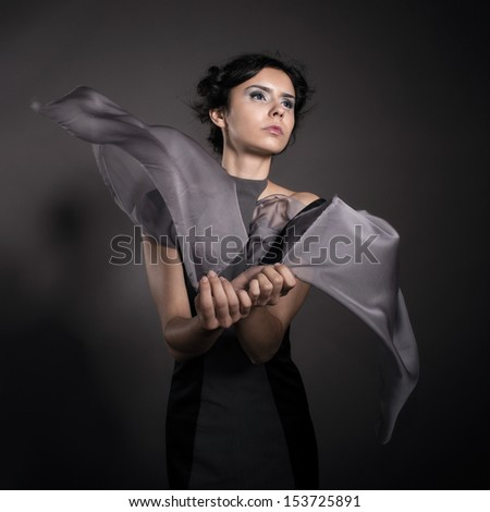 Girl wearing conceptual clothing