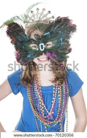 girl wearing pretty feather mask