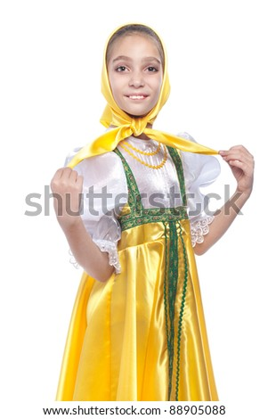 Girl wearing traditional russian dancing costume studio portrait isolated on white background