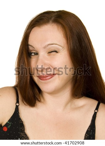 girl winks - stock photo