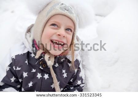 girl winter girl happiness smile - stock photo