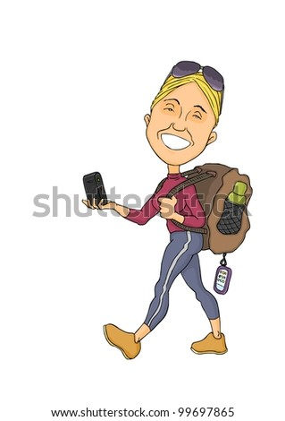 Girl with a backpack and a compass device in the hands - stock photo
